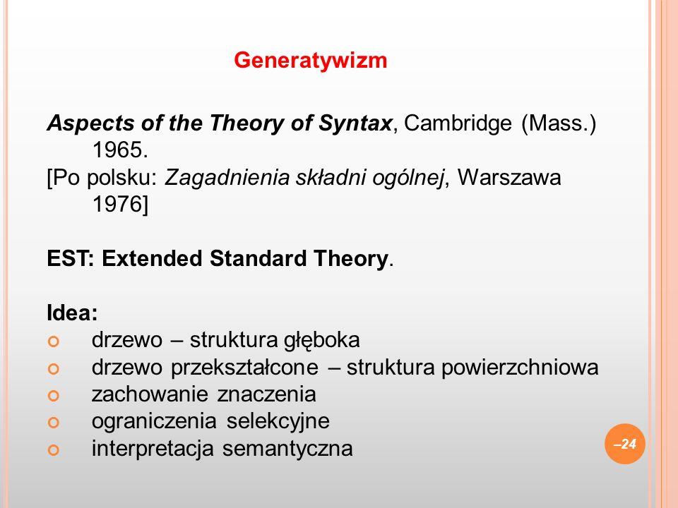 GeneratywizmAspects of the Theory of Syntax, Cambridge (Mass.) 1965. [Po polsku: Zagadnienia składni ogólnej, Warszawa 1976]